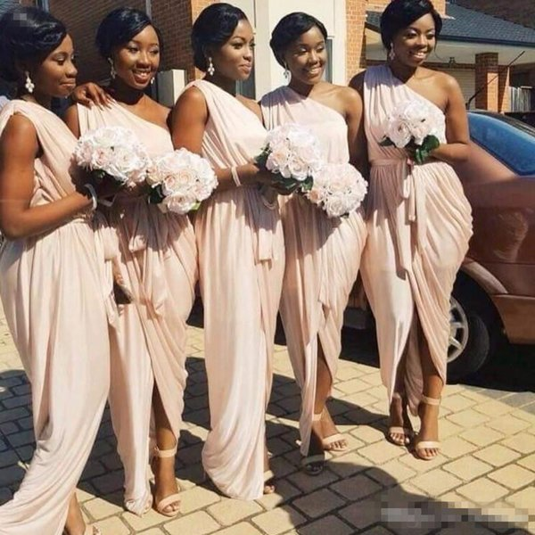 African Bridesmaid Dresses Sexy One Shoulder Long Chiffon Pleats Pale Pink Wedding Party Dress 2017 Waist Sash Maid of Honor Gowns