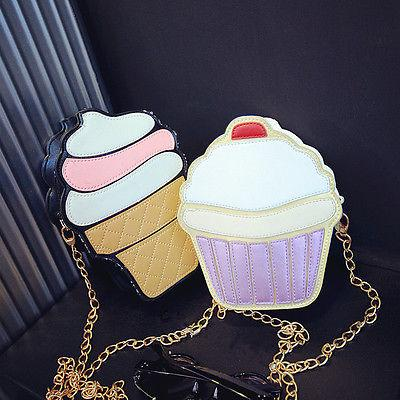 Wholesale- NEW Cute Fashion Lady Kids Girls Ice Crean Cupcake Cartoon Messenger Bags Shoulder Bag Hobo Purse Handbag