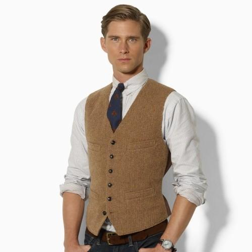2019 New Classic fashion Brown tweed Vests Wool Herringbone British style Mens suit tailor slim fit Blazer wedding suits for men P:6