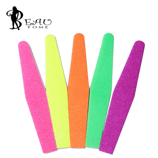 Wholesale- 1Pcs Manicure Tools Washable Sponge Nail File 100/180 Randon Fluorescent Color Design for UV Gel Nail Polish Removal