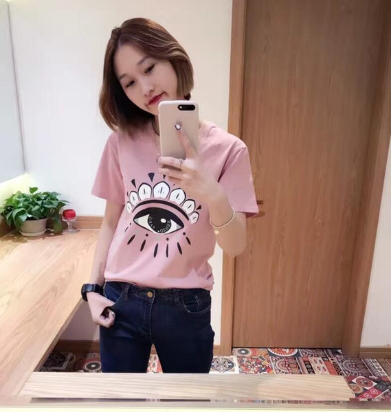 top popular 2017 New Summer Fashion PINK printing Tee Big Eyes Sequin T Shirt Women Cotton High Quality Tears T-Shirt Casual Plus Size Women Tops 2019