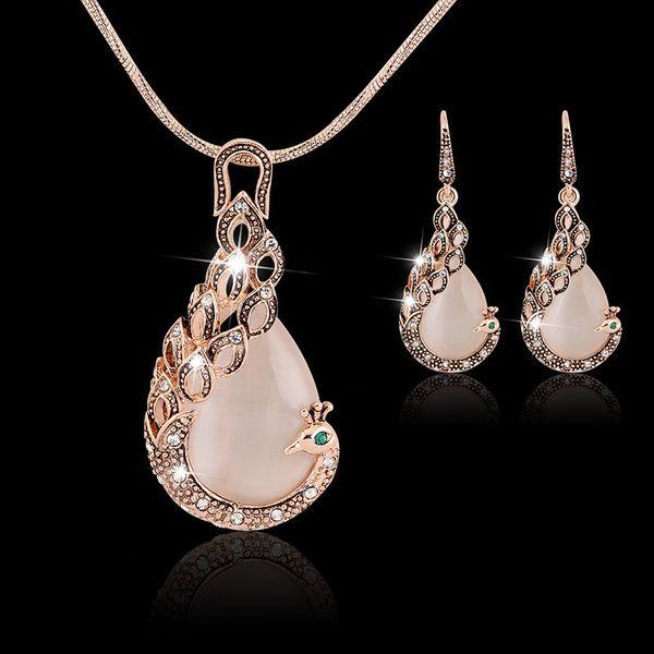 Hot 2PCS Gold Peacock jewelry set necklace earrings High quality rhinestone cat eye gem fashion Wedding jewelry Set Free DHL