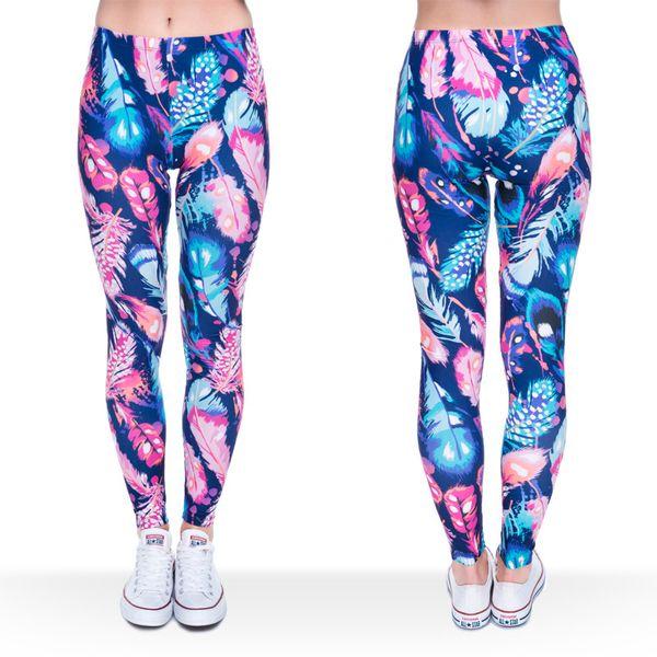 Women Leggings Feather 3D Graphic Print Lady Elastic Waist Band Skinny Stretch Sports Yoga Pants Girls Workout Capris Soft Trousers (J36750)