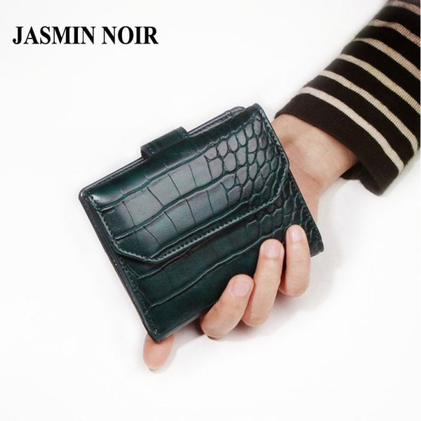 Wholesale- JASMIN NOIR 2017 New crocodile pattern leather women wallet short small wallet buckle fashion cute purse bag for ladies notecase