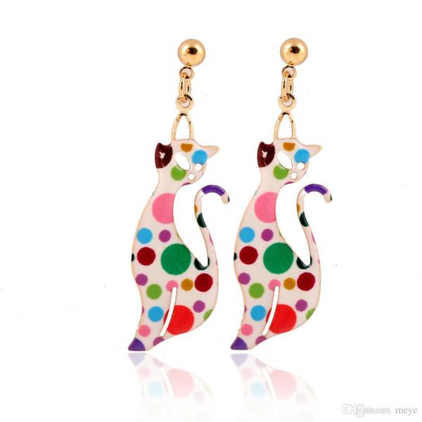 Foxy Laser Printed Earring avec fleur Cartoon Image Animal Chat pendaison boucles d'oreilles pour cadeau de fête jl-330