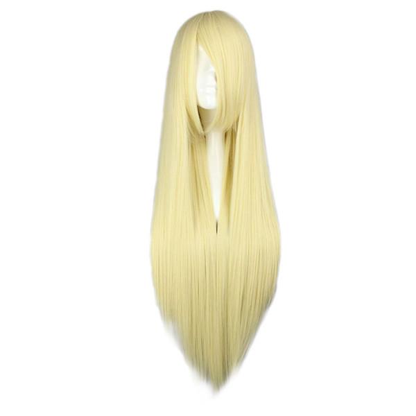 Saç Sentetik Peruk (Siyah) MCOSER 15 Renkler Çok renkli 80 cm Uzun Düz Cosplay Kostüm Kadın Parti Tam Sentetik Saç Peruk Ücretsiz ...