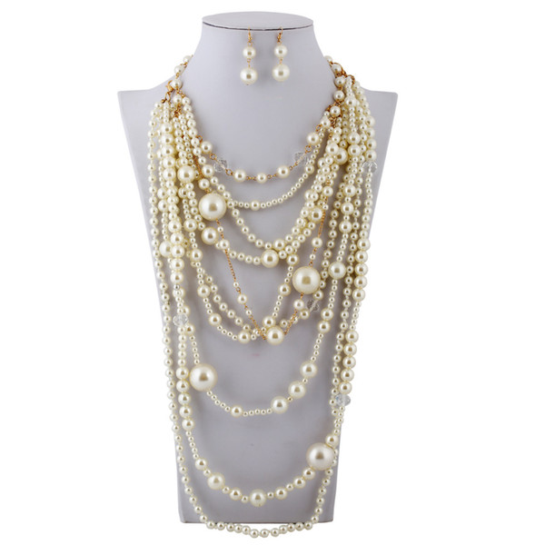 best selling 2016 New Woman Fashion Clothes Accessories Girl Necklace Pearl Necklace Clavicle Chain SN0007