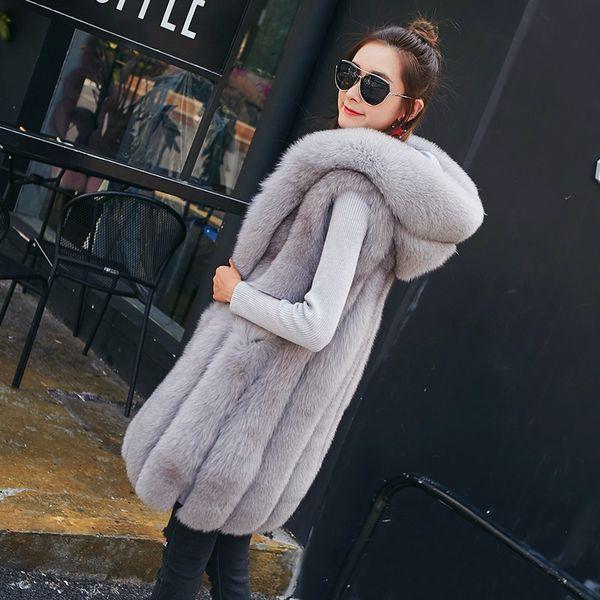 5 Colors Winter Thick Women Faux Fur Long Vest Jackets Sleeveless 2017 Fashion Solid Femme Ladies Fur Hooded Vest Coat