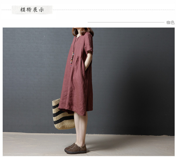 2017 Summer New Linen Women FAT MM Loose long Section OF pure color cotton and linen Short-sleeved big Dress Dress Female