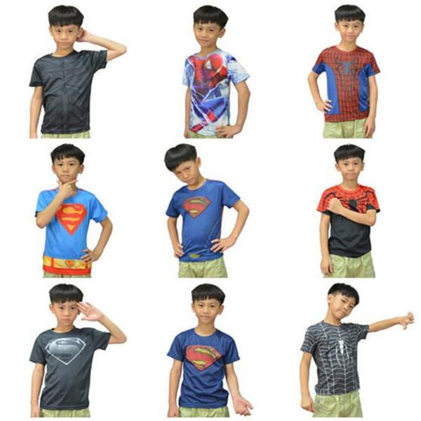 top popular DHL Cartoon Kids Clothing Superhero Short Sleeved T Shirt Avengers Captain America Iron Man Shirt Fashion Quick Dry T Shirt Children Clothes 2020