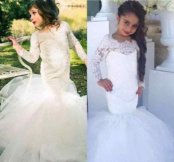 2019 White Ivory Lace Long Sleeve Mermaid Flower Girl Dresses For Weddings Cheap Jewel Long Modest Garden Country Wedding Gowns