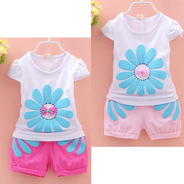 Wholesale- 2pcs clothing set!!fashion kids baby girls beauty sunflower short sleeve tops+ floral shorts outfits for age 1-4Y girl