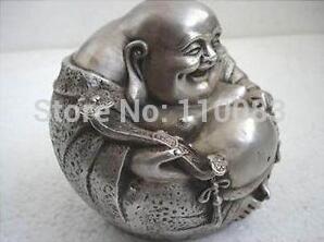 Weinlese-Arbeitshandbuch-Teekanne für chinesische orientalische seltene seltene tibetanische silberne Lächelnstatue von Buddha-Antiken-Metall