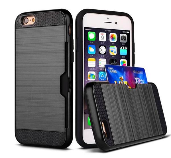 Pour iPhone X Hybrid Case brossé Dual Layered Bumper Cases avec carte Slot Cover Pour iPhone 6 6 s plus 7 8 plus samsung s8 s8 plus note 8