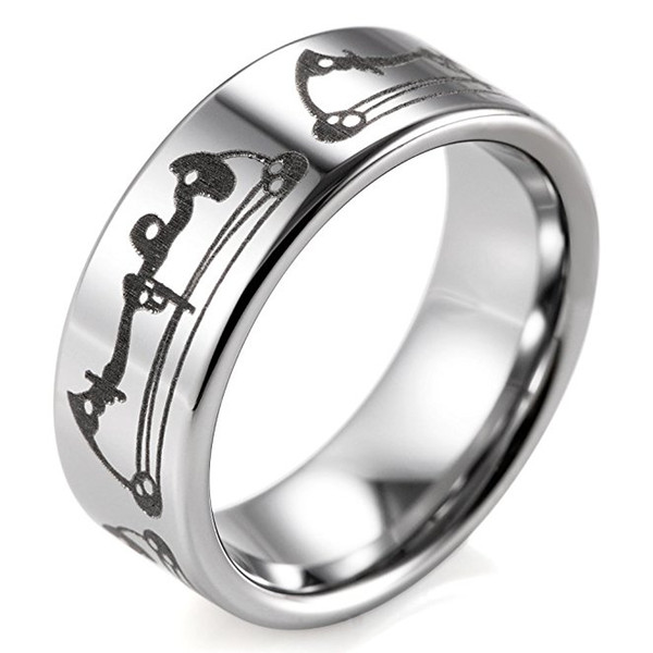 Free shipping SHARDON wholesale Mens 8mm width Tungsten steel wedding Rings with Laser Engraved Bows Pattern