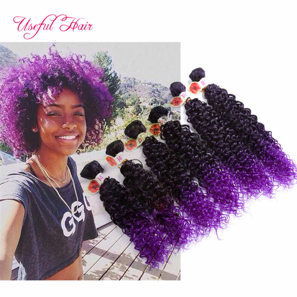 "14""16""18"" Synthetic hair for braids Jerry curly freetress ombre brown kanekalon synthetic hair deep curly crochet purple braiding Hair"