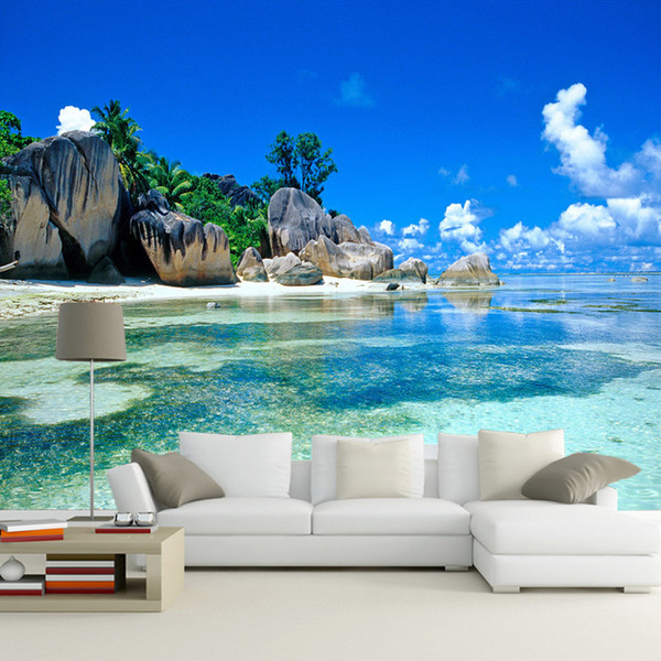 Personalizzato 3D Wallpaper murale Non tessuto Camera da letto Livig Camera TV Divano Sfondo carta da parati Ocean Sea Beach 3D Photo Wallpaper Home Decor
