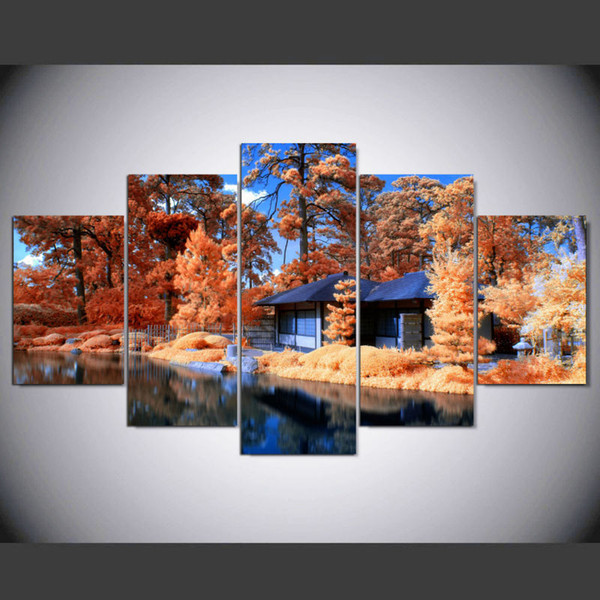 House and Tree natural scenery Canvas Painting For Living room 5 Panel No frame Wall Art Print Poster Pictures personalized gifts