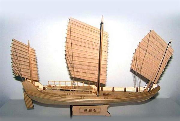 SC 1:148 Laser-cut wooden sail ship model: Ancient Chinese Sailboat Green Eyebrows of Zheng he's armada