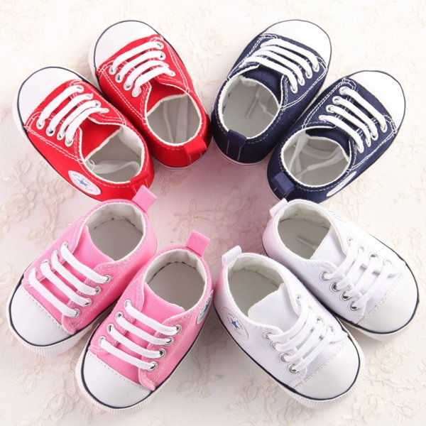 Wholesale- Canvas Newborn Baby Boy Girl Shoes Brand Soft Soles Non-slip Star Lace-Up First Walkers Toddler Crib Shoes Baby Sneakers
