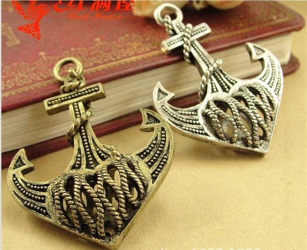 35*46MM Antique Bronze 3D filigree hollow anchor charm pendant beads, Korea retro nautical jewelry wholesale, nautical items lot