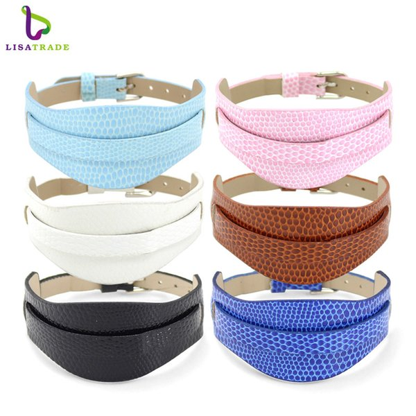 10PCS 8MM Snake PU Leather Wristband Bracelets DIY Accessory Fit Slide Letter LSBR011*10