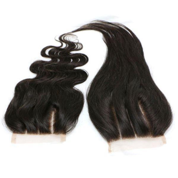 3 partes de cierre de encaje recto peruano de la Virgen del pelo de color natural 100% del pelo humano del cordón del frente del cierre pieza nudos blanqueados 8-20 pulgadas