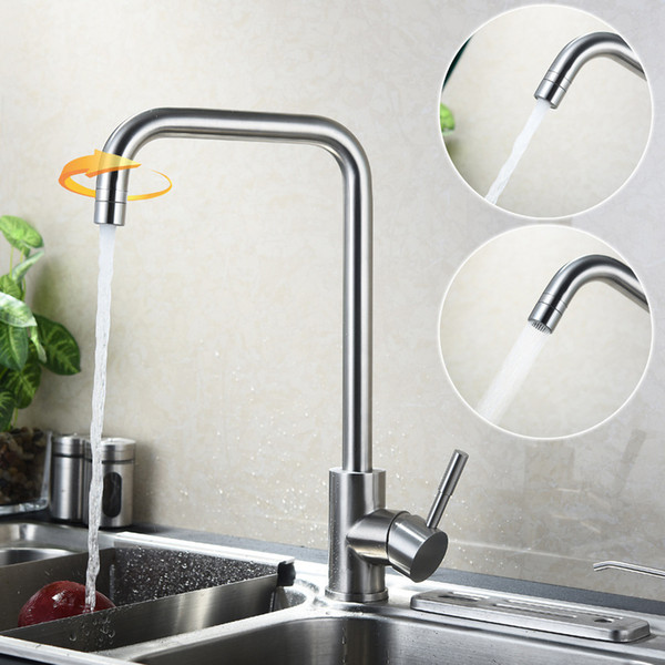 New Arrival Fashion SUS304 Stainless Steel Kitchen Faucet Rotate Water Tap 2 Way Water Outlet Faucets Brushed Mixer Taps