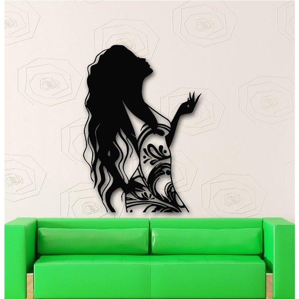 High Quality Long Hair Beautiful Salon Girl Dress Fashion Clothes Home Decoration Decal Vinyl Wallpaper for Room Art Decor