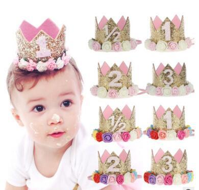 Princess Birthday Hat Headband Sequins Gold & Pink Flowers Crown Party Decorations Headband for Baby and Girls Head Wear Photo Props