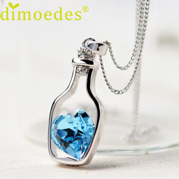 top popular 2016 Hot selling Lovely Design Women Diomedes Necklace Ladies Love Drift Bottles Pendant Necklace Crystal Heart Necklace 2020