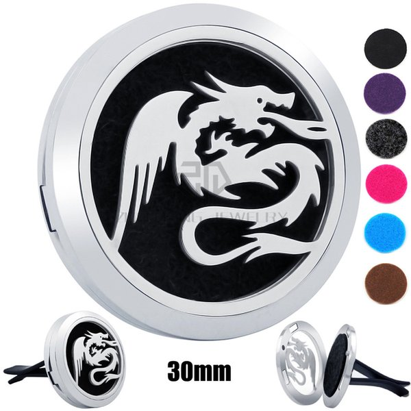 New Arrival Silver Dragon (30mm) Magnetic Diffuser 316 Stainless Steel Car Perfume Lockets Essential Oil Car Air Fresher Lockets