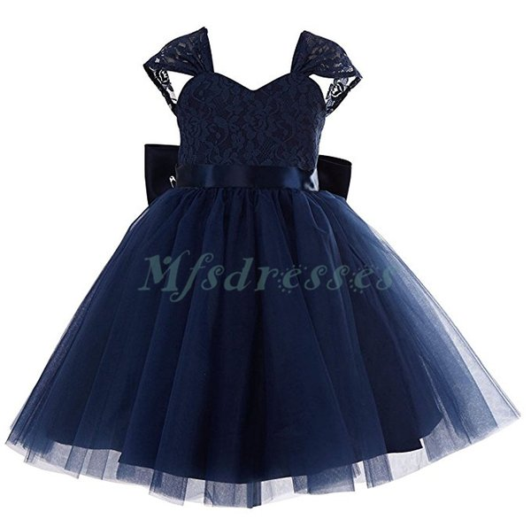 Cheap Navy Blue Lace Tulle Knee Length Flower Girl Dress Wedding Party Formal Dresses for Girls Tutu Girl First Communion Dresses