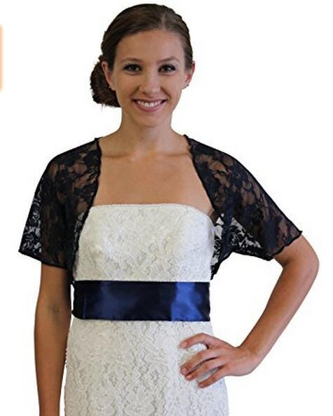 Latest Collection Ladies Lace Bolero Jacket Short Sleeve See Through Bridal Jackets Good Quality European American Style