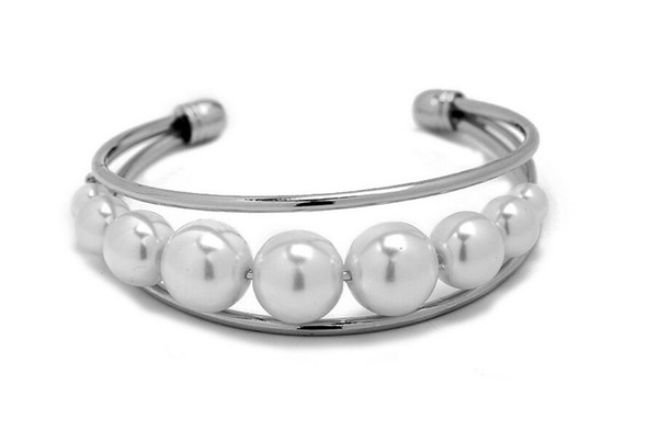 2017 alloy inlaid pearl bracelet A row of pearl bracelet Hollow out contracted foreign trade alloy bracelet accessories free shipping