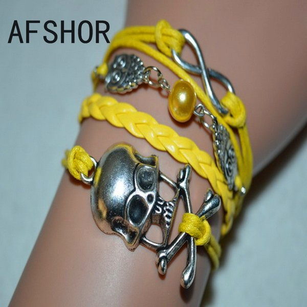 Hot Hand-Knitted Yellow Leather Rope Cuff Costume Charm Bracelet Bangles Fashion Women Men Silver Alloy Owl Bead Skeleton Infinity Jewelry