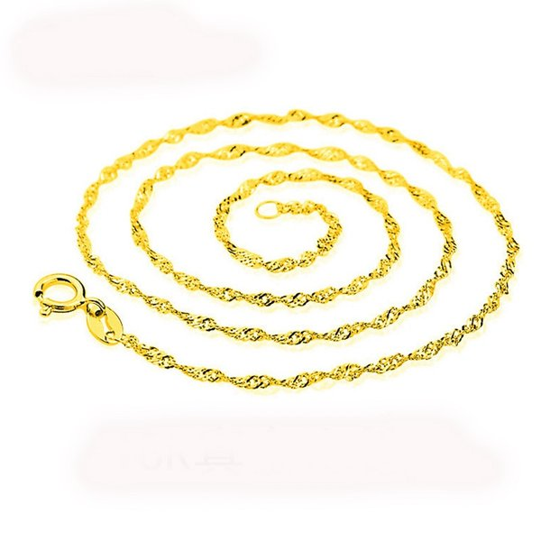 18K Genuine Gold Plated Water Wave Chain Cross Chains For DIY Fine Jewelry Making Luxury Chain Necklace Gift