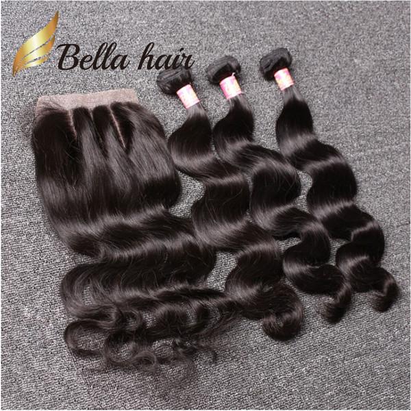 best selling Bella Hair® 8A Brazilian Hair Bundles with Closure 8-30 DoubleWeft Human Hair Extensions Hair Weaves Closure Body Wave Wavy Julienchina