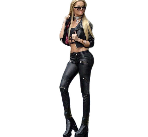 Wholesale- Low rise stylish punk style black leather skinny jeans zippers detail locomotive girls plus size coated leather jeans sculpt