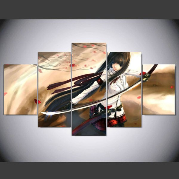 New Anime Girl Canvas Painting 5 Panel Unframed Modern Home decorative Picture For kids room Wall Art Print Poster Craft Gift