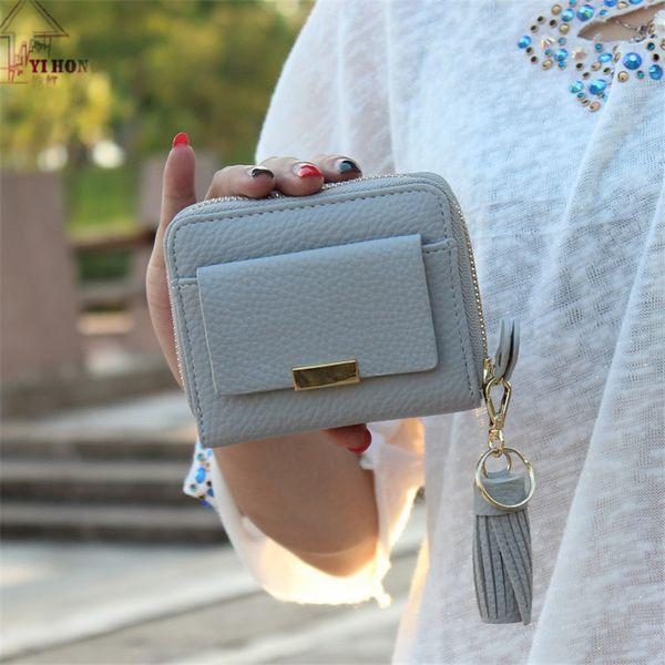 Nouveau Court Portefeuille Haut de gamme De Luxe Boucle Coréenne Lychee Motif Carré Lady Portefeuille Gland Zipper Bourse H732