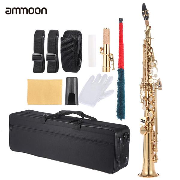 Al por mayor-ammoon de latón recto Soprano Bb B Saxofón saxofón plano instrumento de madera Natural clave clave tallar patrón con estuche