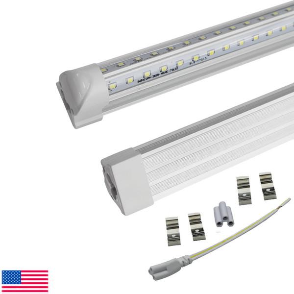 A porta V-Shaped do refrigerador de 4ft 8ft conduziu as lâmpadas conduzidas T8 das luzes do tubo A tampa 6000K desobstruída do branco frio limpou a ampola conduzida