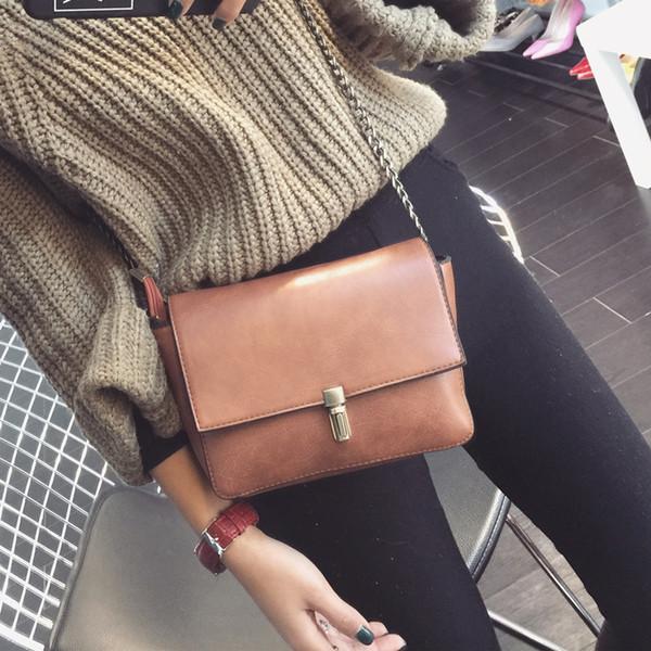 Wholesale- LEFTSIDE New 2016 7 Color Clain Lock Fashion Women CrossBody Bag Purse shoulder Bags Simple Small handbag Women Messenger Bags