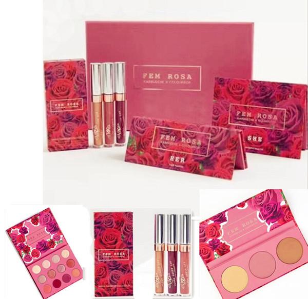 Newest Makeup Set ColourPop Fem Rosa Set Eye Shadow +Highlighter +Matte  Lipstick In Stock Cheap Makeup Brush Set Makeup Brush Set Reviews From  Hope13,