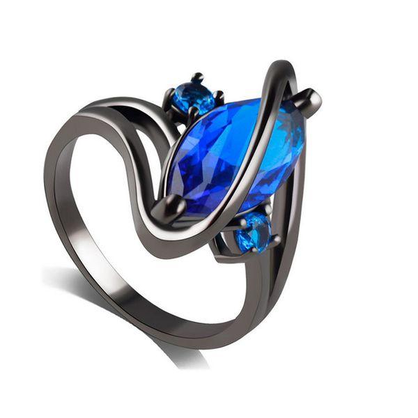 Luxo Sapphire Roxo Zirconia Gun Black Alloy Banda Anéis para As Mulheres Da Moda Festa Anel de Noivado Jóias Lady Presentes (tamanho 7,8,9,10)