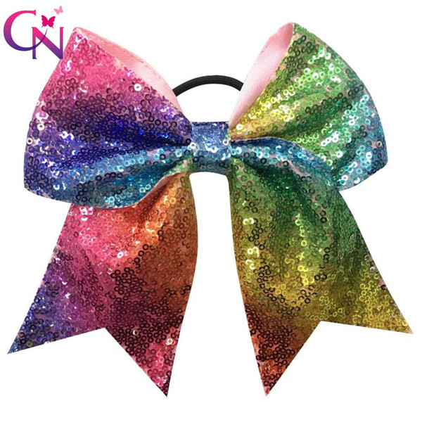 "10 Pcs /Lot 7 ""Rainbow Sequin Cheer Bows with Elastic Hair Band for Girls Kids Handmade Large Cheerleading Hair Bows Hair Accessories"