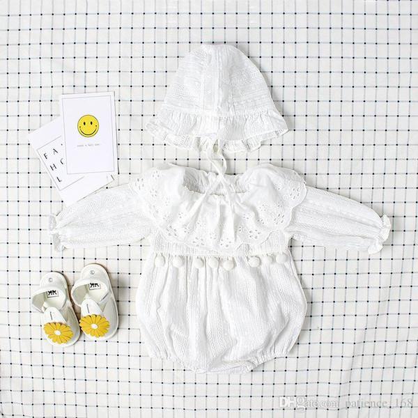 INS new arrivals bebê crianças romper Puro branco de manga comprida e manga curta romper menina de algodão de alta qualidade Jacquard rendas romper com chapéu