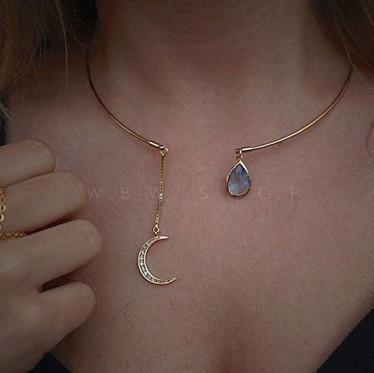 Dainty Crescent Moon Chokers Necklaces Manmade Blue White Gemstone Embellishment Gold Plated Fashion Jewelry Gifts Womens Necklaces