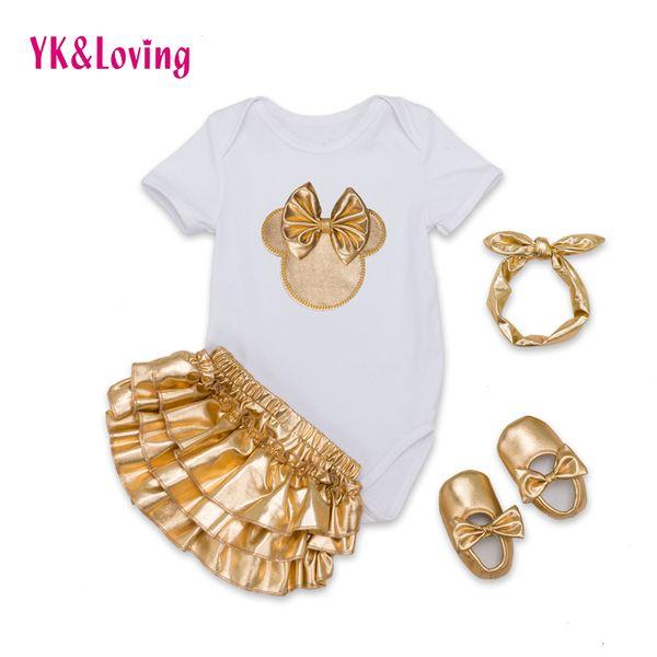 All'ingrosso-Infant Brand Baby Set di vestiti in cotone Baby Girl manica corta Body + Gold Ruffles Bloomers + Fascia + Scarpe neonato 2016